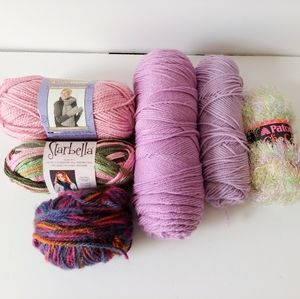 Pastel Pink Purple Yarn Lot of 6 Rolls Partials